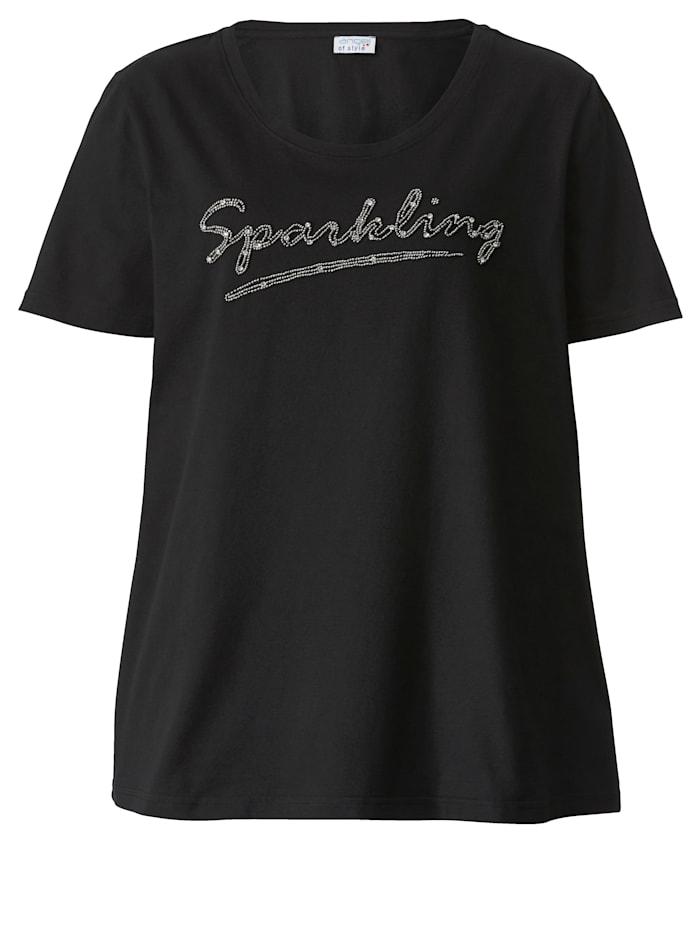 Shirt met kraaltjesopschrift