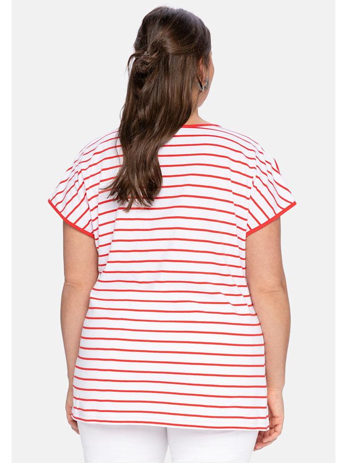 T-Shirt mit Ringeln und Statement-Foliendruck