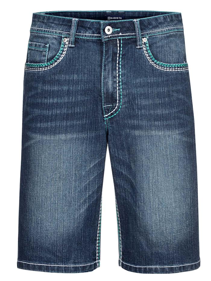 BABISTA Bermuda en jean avec coutures contrastantes mode, Bleu foncé