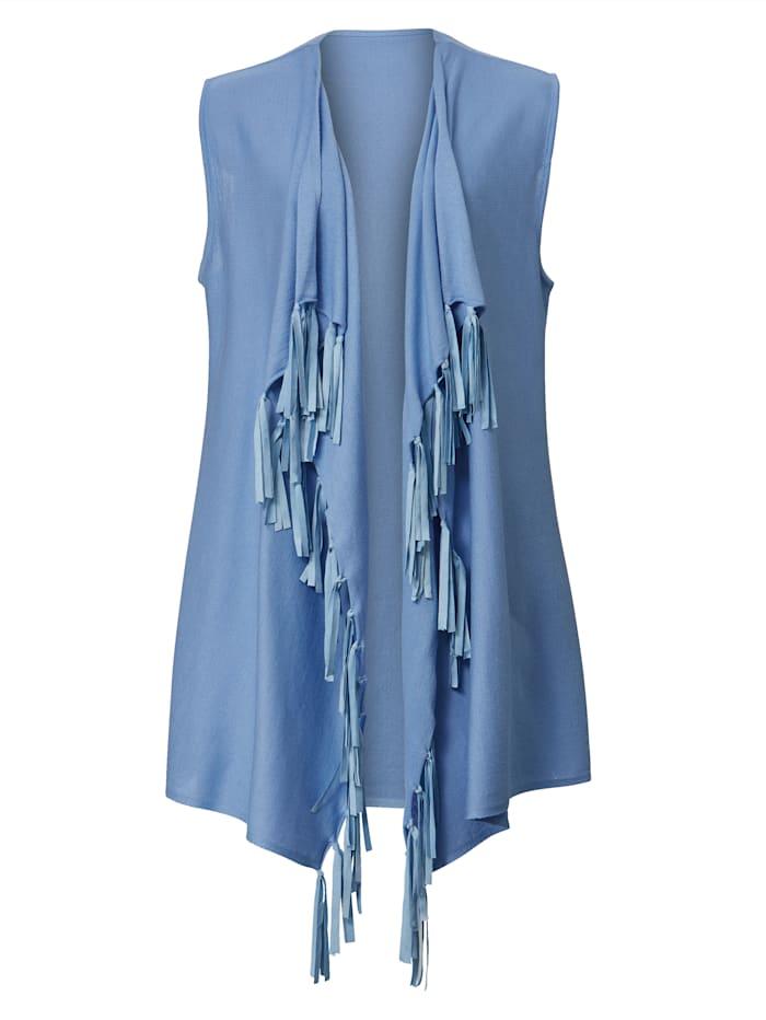 Angel of Style Strickweste mit Fransendetails, Blau
