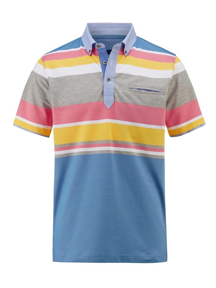 BABISTA Poloshirt Strijkvrij en ademend, Blauw/Roze/Geel