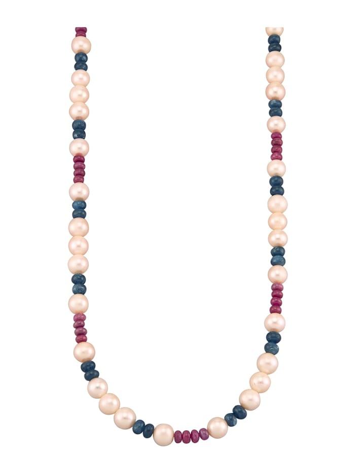 Diemer Farbstein Süßwasser-Zuchtperlen-Kette mit Saphir- und Rubin-Rondellen, Multicolor