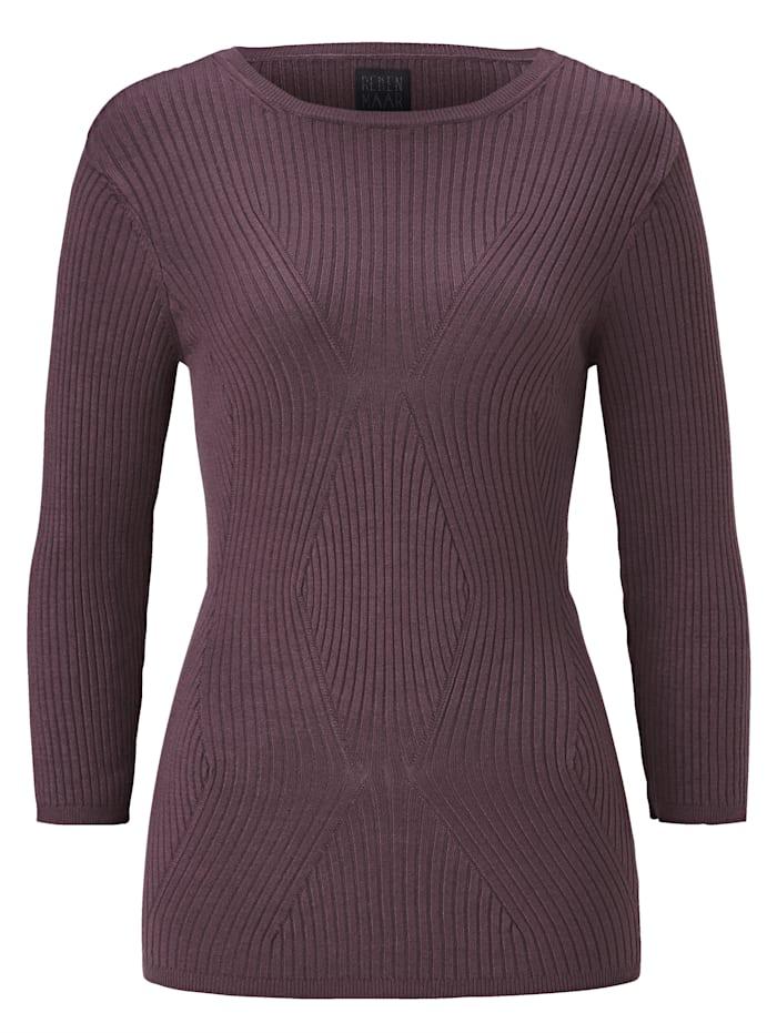 REKEN MAAR Pullover besondere, wellenartige Musterung, Aubergine