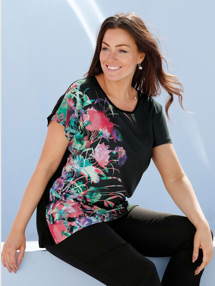 m. collection Shirt mit buntem Blumendruck-Motiv im Vorderteil, Schwarz