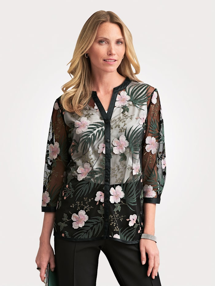 Blouse jacket with floral embroidery