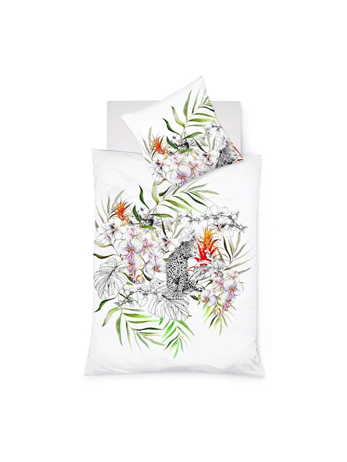 Fleuresse Mako-Satin Bettwäsche Bed Art S Leopard weiße orchidee, weiße orchidee