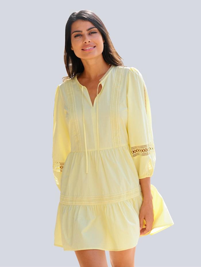 Alba Moda Strandtunika mit ausdrucksstarker Spitze, Gelb
