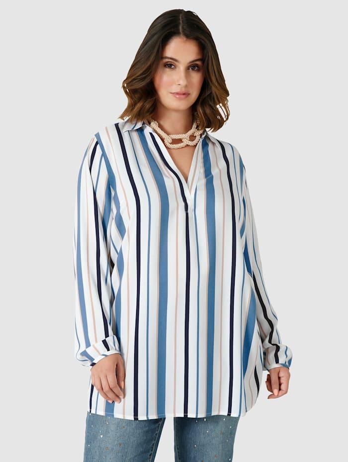 Sara Lindholm Blouse à motif rayé allongeant, Blanc/Bleu jean