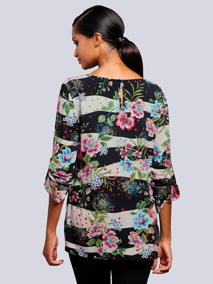 Bluse allover im ausdrucksstarken Blumenmuster