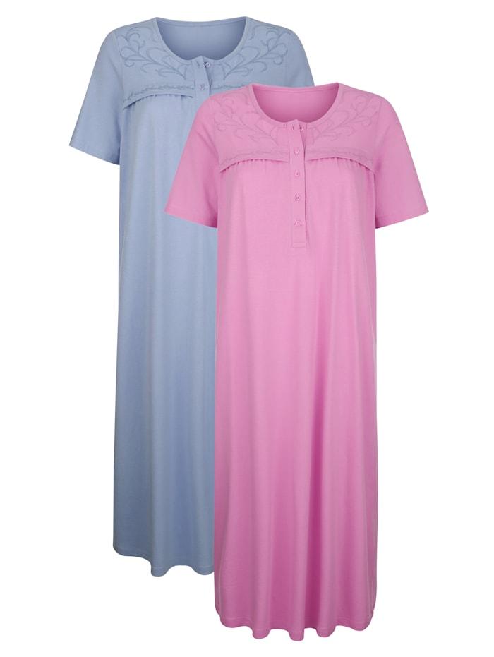 Harmony Nachthemden mit romantischer Stickerei, Lila/Rauchblau