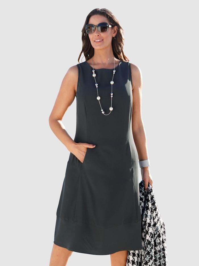 MIAMODA Pouzdrové šaty v mírně rozšířeném střihu, Antracitová