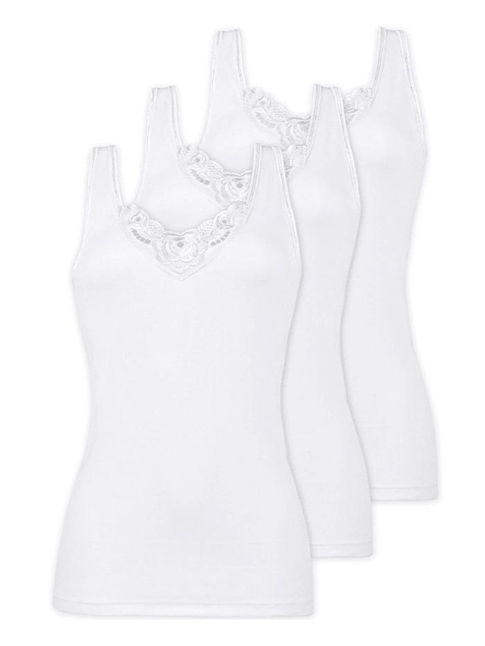 Naturana 3er Sparpack Damen Unterhemd, Weiss