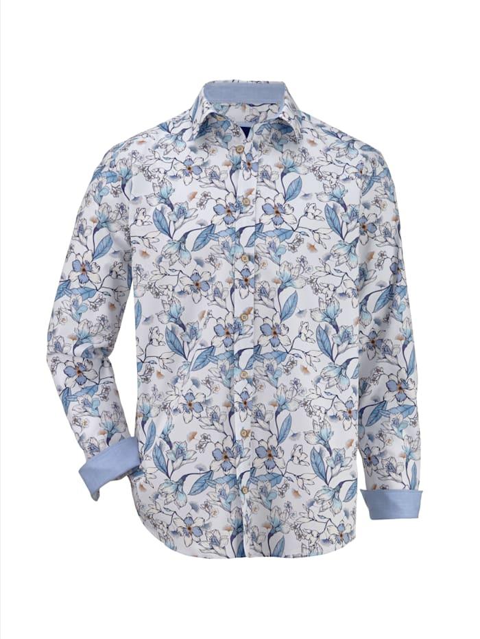 BABISTA Hemd mit floralem Druckmust, Weiß/Blau
