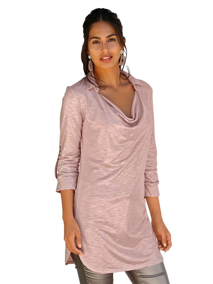 AMY VERMONT Shirt mit Wasserfall-Ausschnitt, Rosé