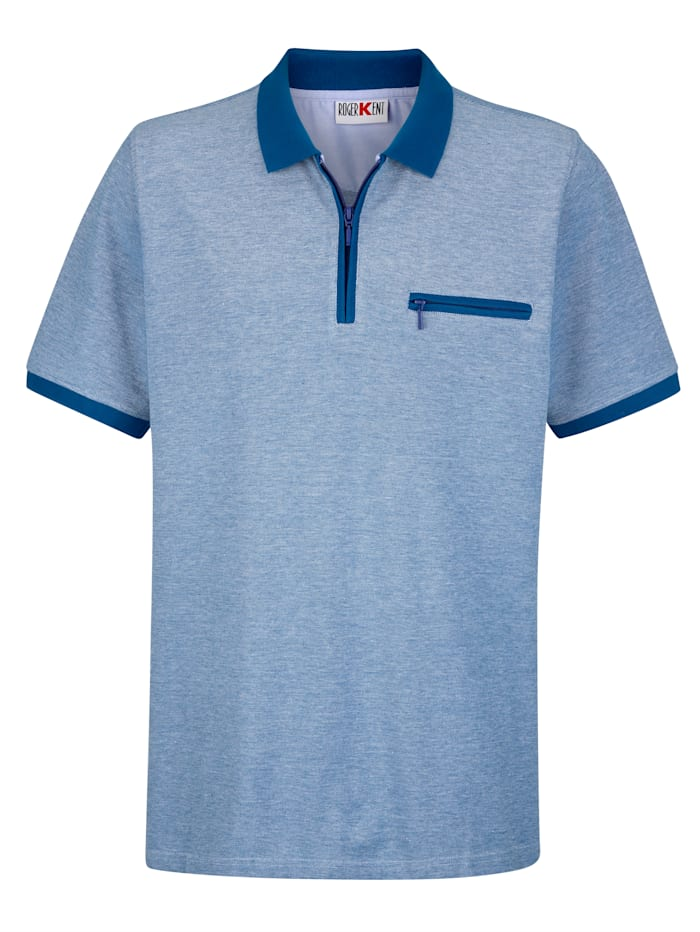 Roger Kent Poloshirt in Jacquard-Qualität, Blau