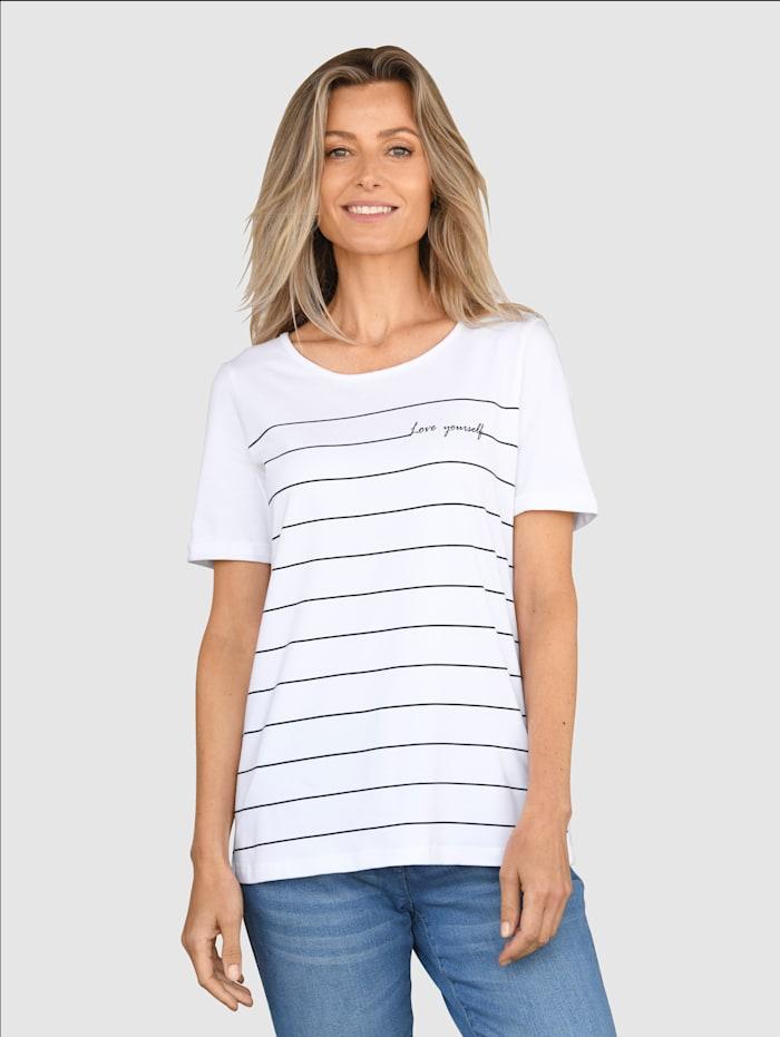 basically you Shirt mit kleinem Schriftzug, Weiß/Marineblau