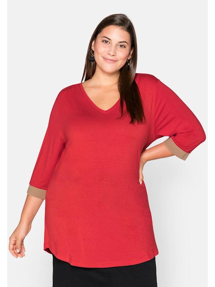 Sheego Sheego Shirt mit kontrastfarbenen Rippbündchen, feuerrot
