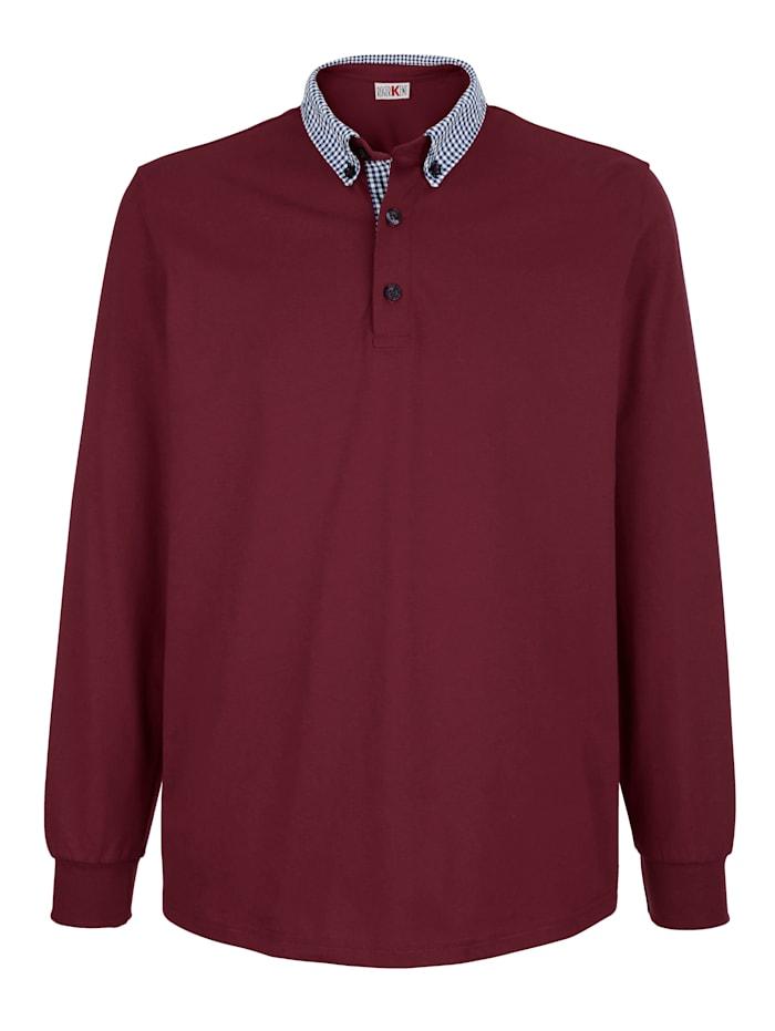 Roger Kent Poloshirt met beleg van weefstof aan de kraag, Bordeaux