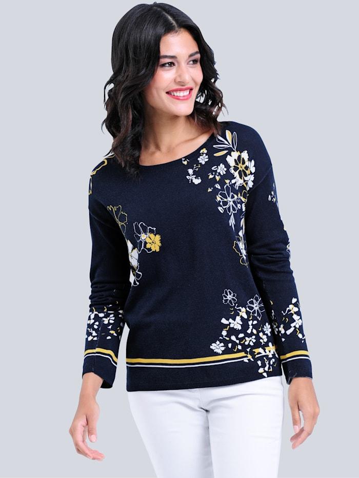Alba Moda Pullover allover im Blumendessin, Marineblau/Gelb