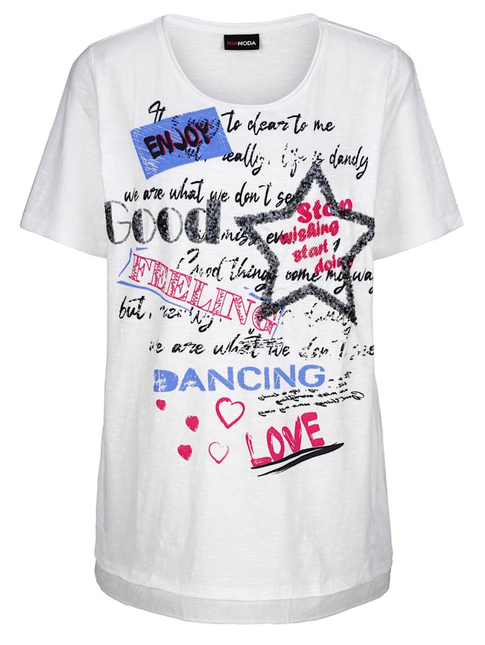 MIAMODA T-shirt à imprimé placé devant, Blanc