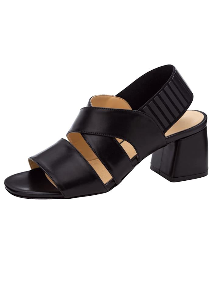 WENZ Sandale mit elastischem Fersenriemchen, Schwarz