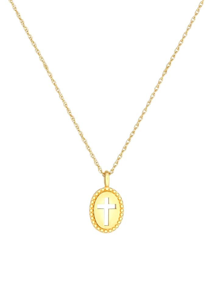 Halskette Kreuz Symbol Oval Cut Out Vintage 925 Silber