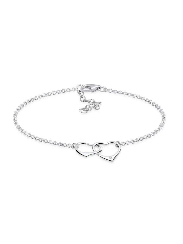 DIAMORE Armband Herz Anhänger Liebe Diamant (0.015 Ct.) 925 Silber, Silber