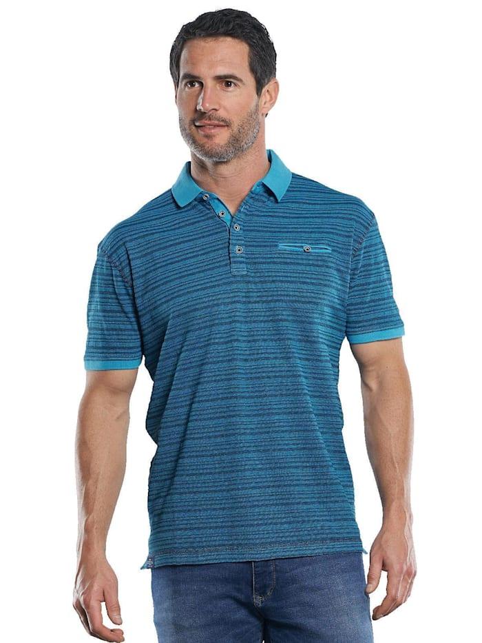 Engbers Sportives Poloshirt mit hochwertigen Strukturstreifen, Cyanblau