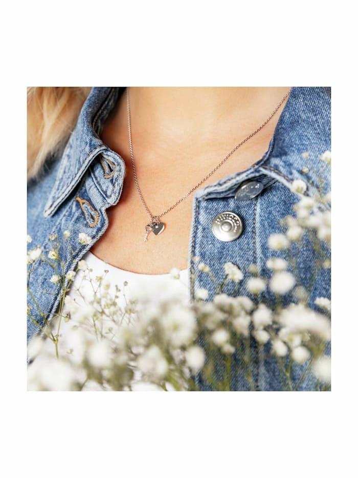 KEY & HEART Kette mit Anhänger für Damen, Sterling Silber 925, Zirkonia Schlüssel
