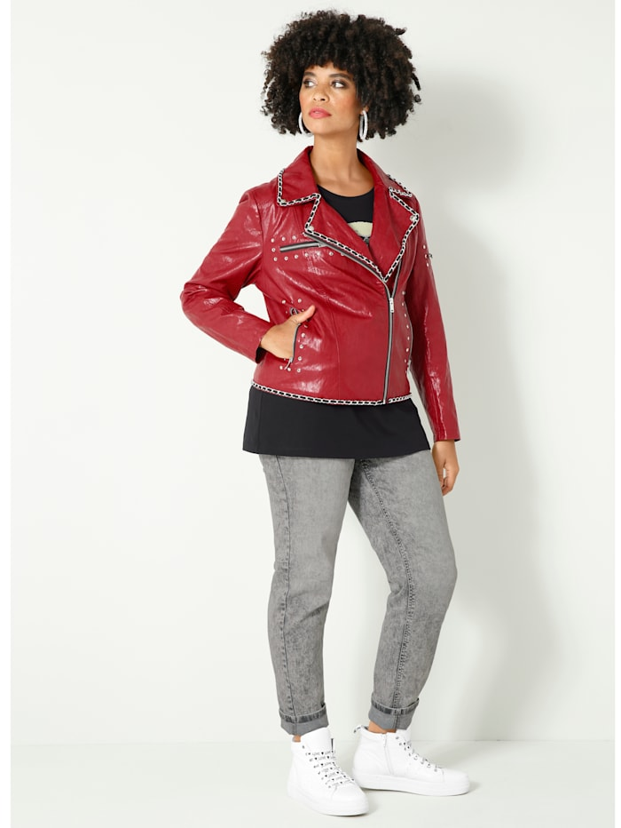 Lederimitatjacke in angesagter Bikerform