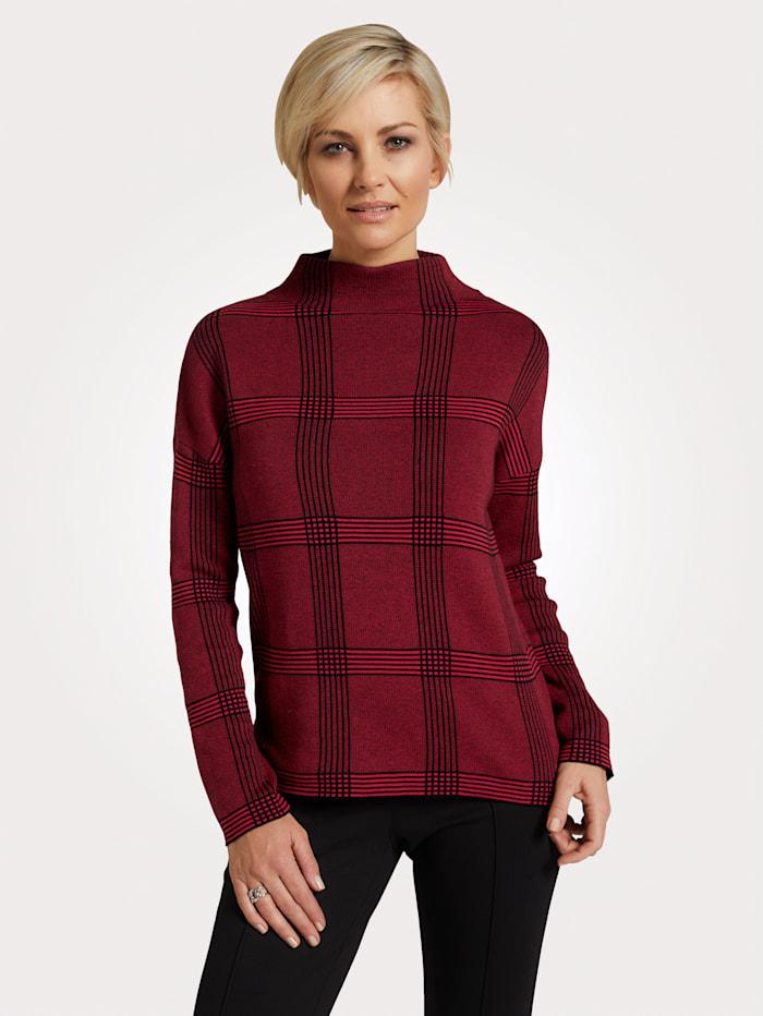 MONA Pullover mit Karomuster, Rot/Schwarz