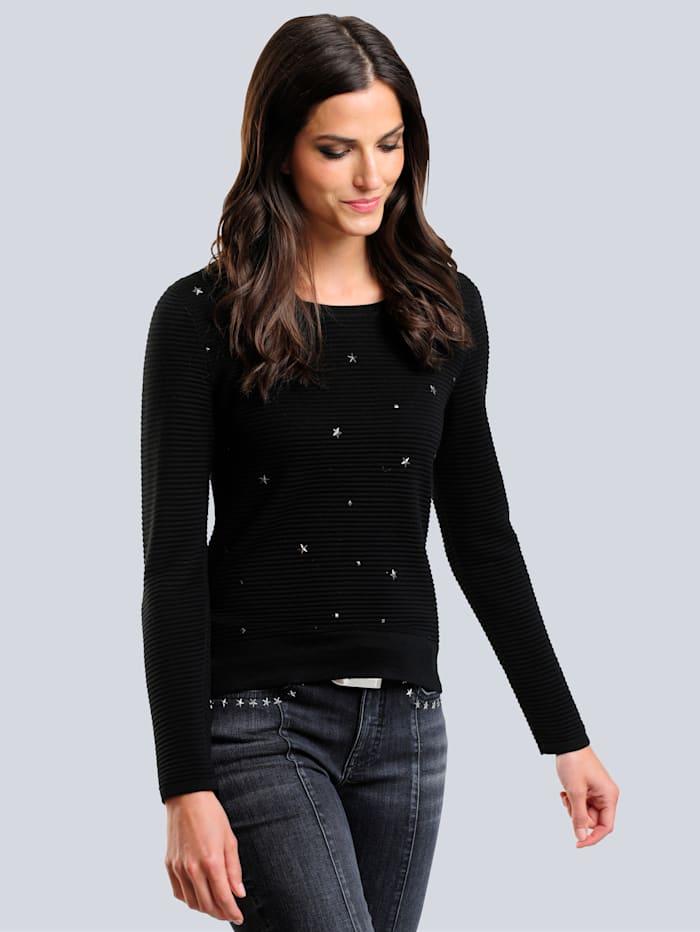 Alba Moda Trui met klinknageltjes in sterrenvorm, Zwart