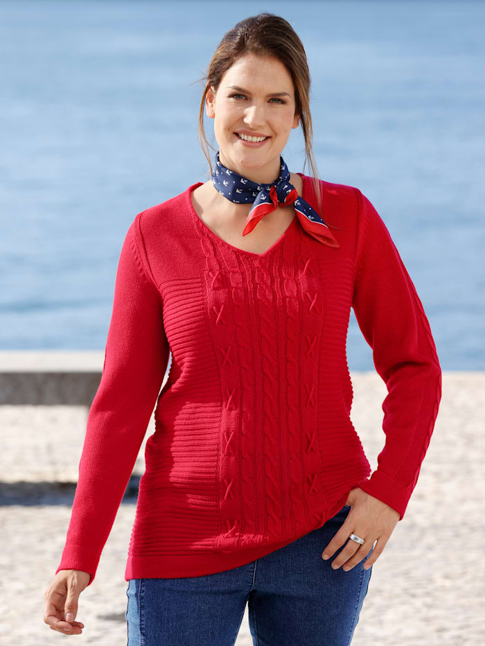 m. collection Pullover vorne mit verschiedenen Strickmustern, Rot