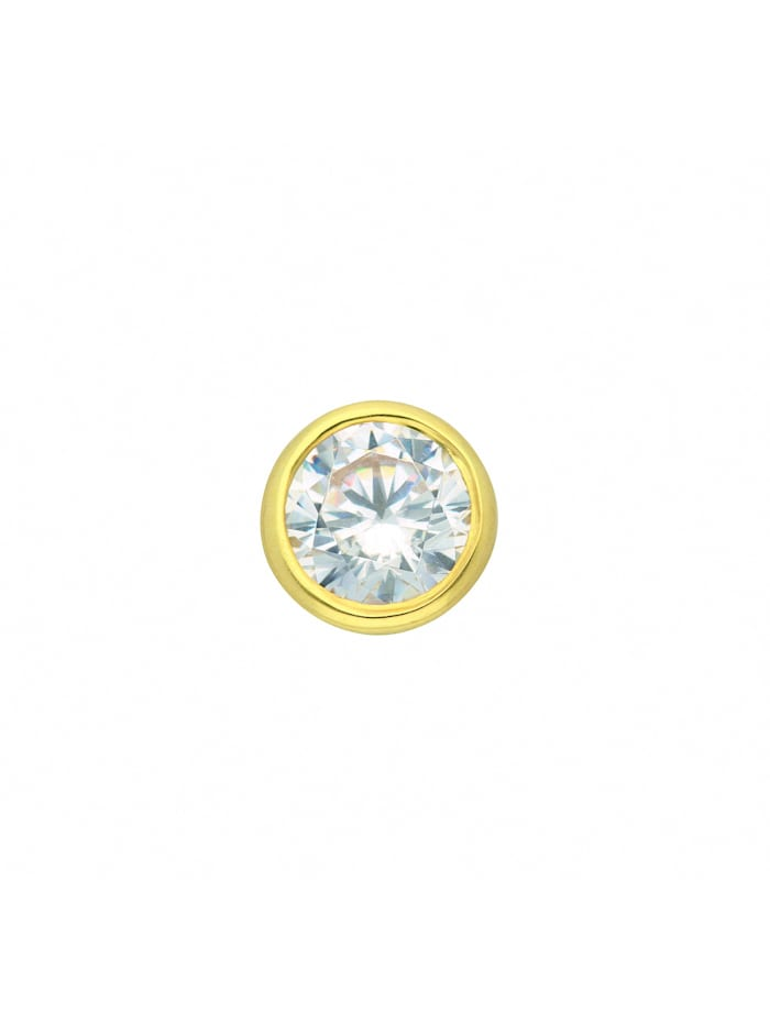 1001 Diamonds Damen Goldschmuck 585 Gold Anhänger mit Zirkonia Ø 7 mm, gold