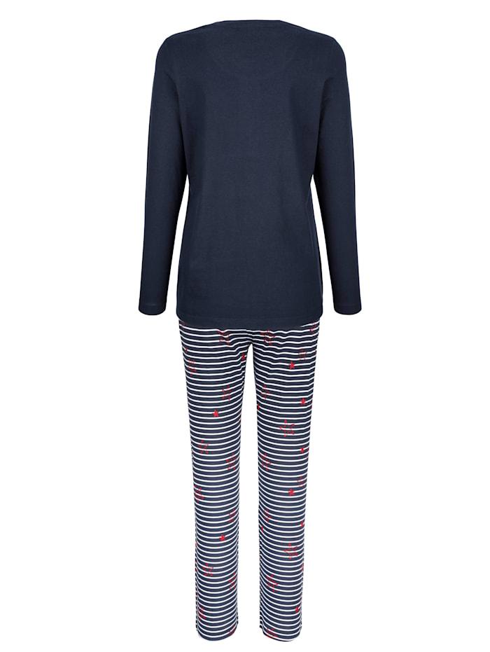 Pyjama met gestreepte knoopsluiting