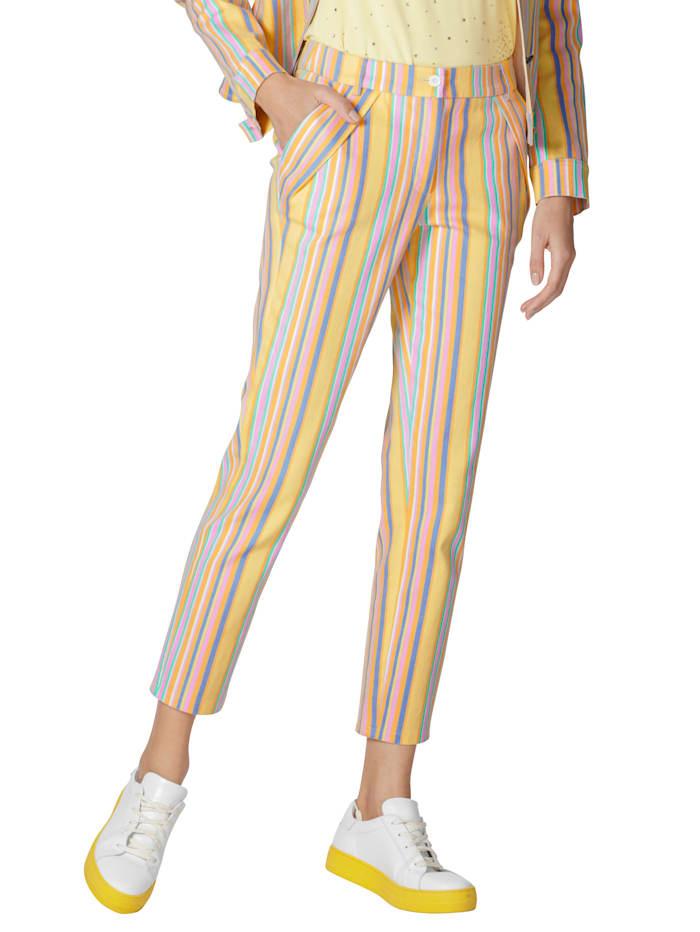 AMY VERMONT Jeans met strependessin, Geel/Lichtblauw/Lila
