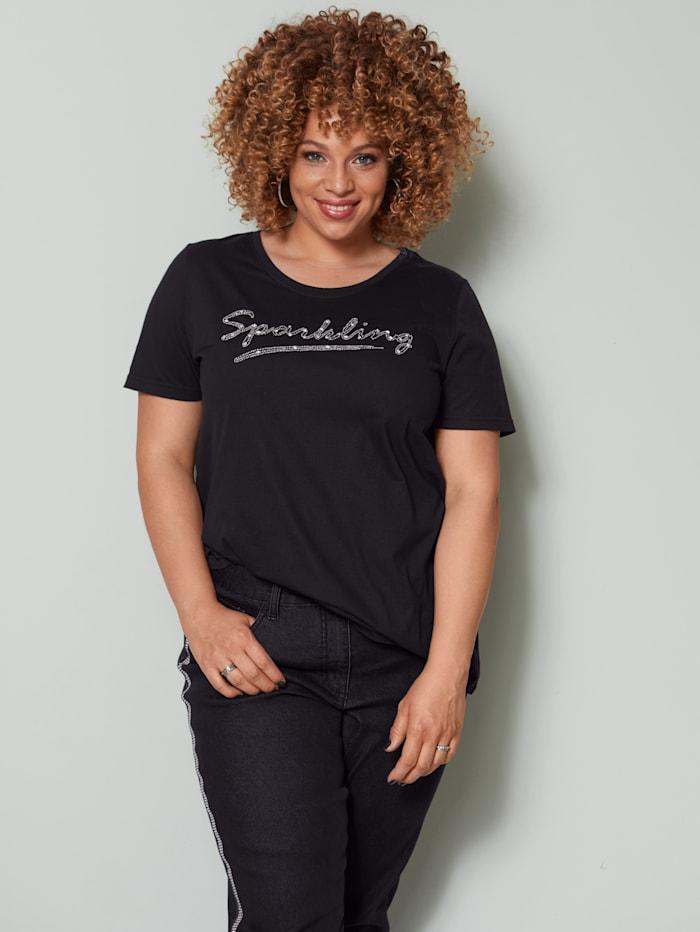 Angel of Style Shirt mit Perlenschriftzug, Schwarz/Silberfarben