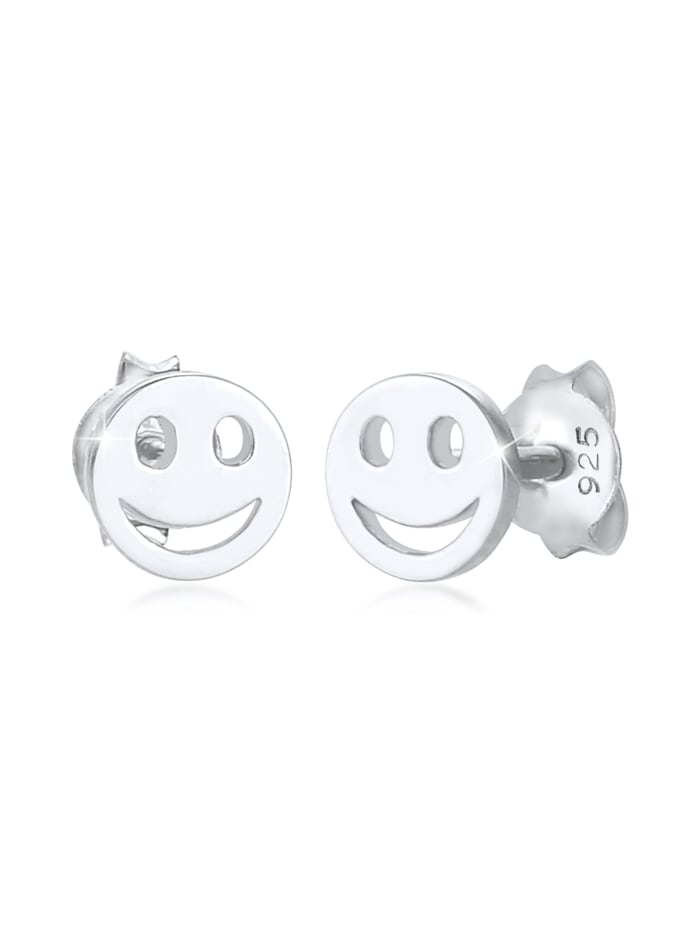 Elli Ohrringe Kinder Smiley Plättchen Basic Trend 925 Silber, Silber