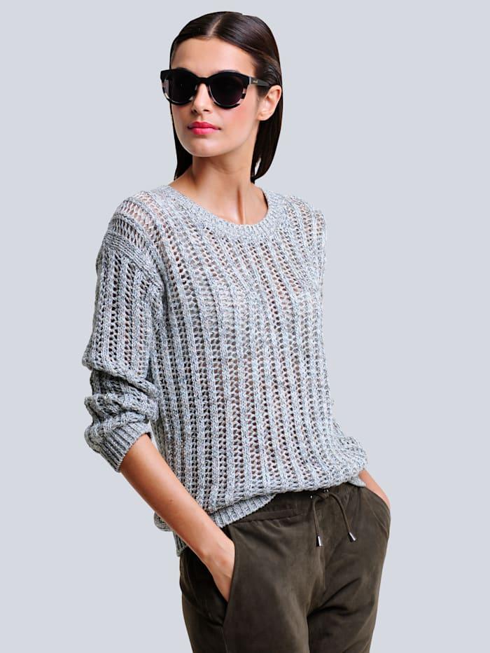 Alba Moda Pullover im attraktiven Ajourstrick, Karamell/Khaki/Off-white
