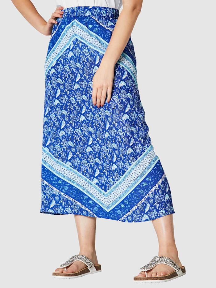 Angel of Style Rok met gebloemde sjaaltjesprint, Blauw/Marine