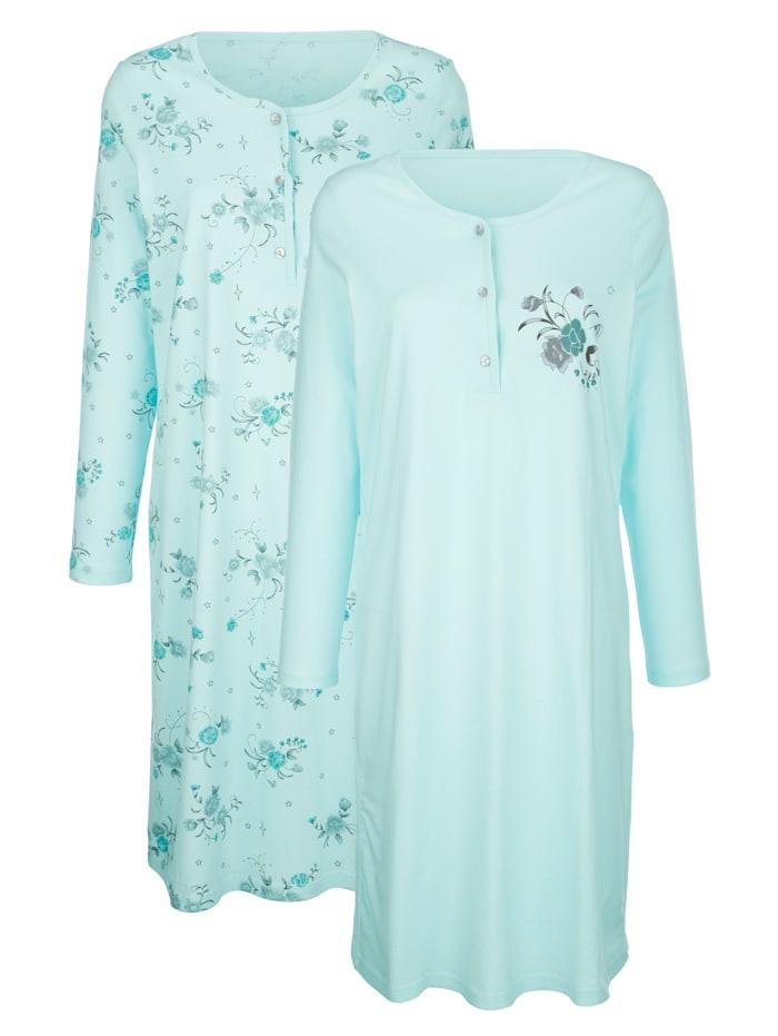Harmony Nachthemden mit hübschem Blumendruck, Mintgrün/Smaragd/Grau