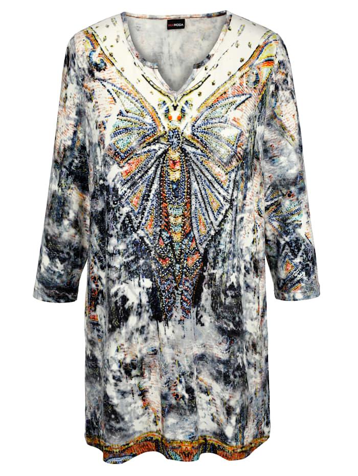 MIAMODA Pitkä paita – runsas koristekivikoristelu, Monivärinen