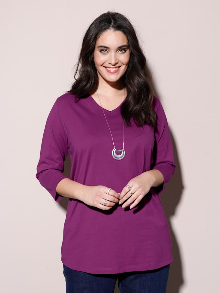 MIAMODA Shirt mit streckendem V-Ausschnitt, Cyclam