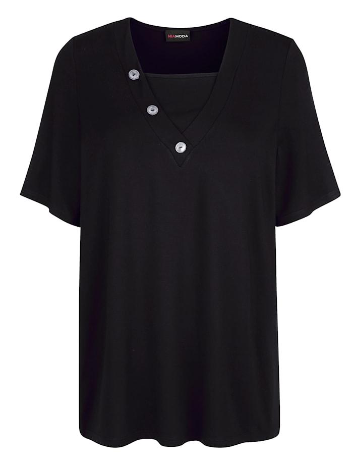 MIAMODA Shirt mit dekorativen Knöpfen am Ausschnitt, Schwarz