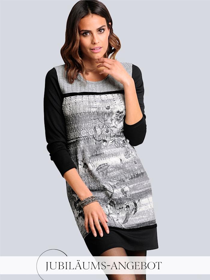 Alba Moda Kleid im Vorderteil mit abstraktem Print, Schwarz/Grau/Off-white