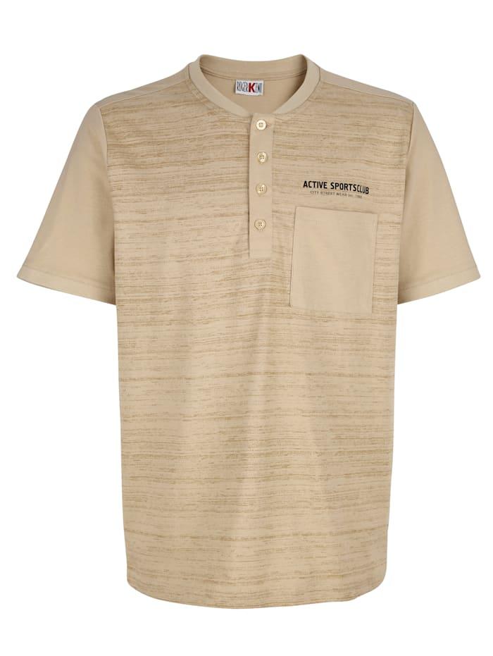 Roger Kent T-Shirt mit Druckmotiv im Vorderteil, Sand
