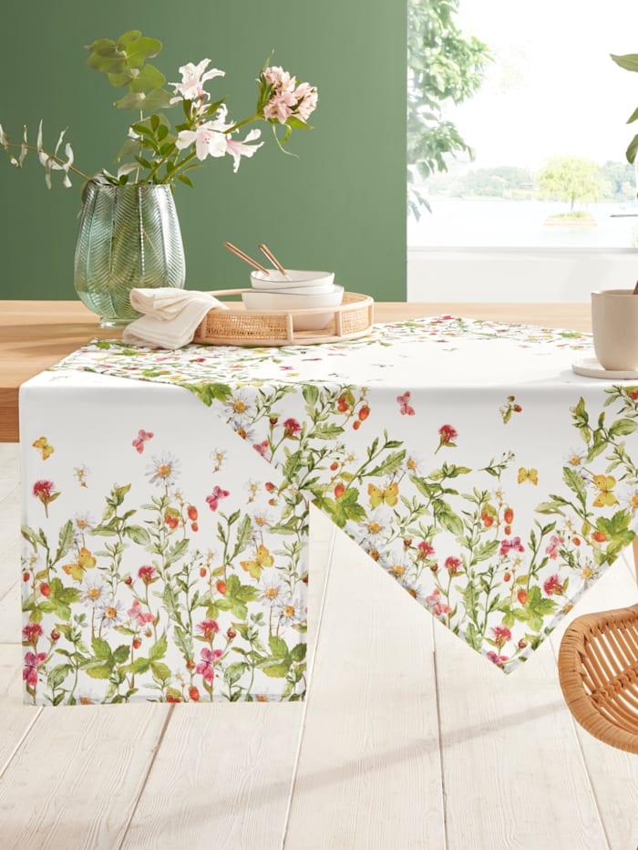 Raebel Tafellinnen Bloemenweide, wit/multicolor