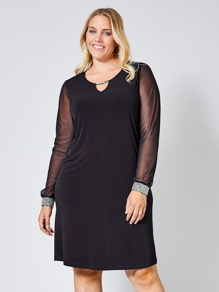 Sara Lindholm Slinky-Kleid mit Stickerei, Schwarz