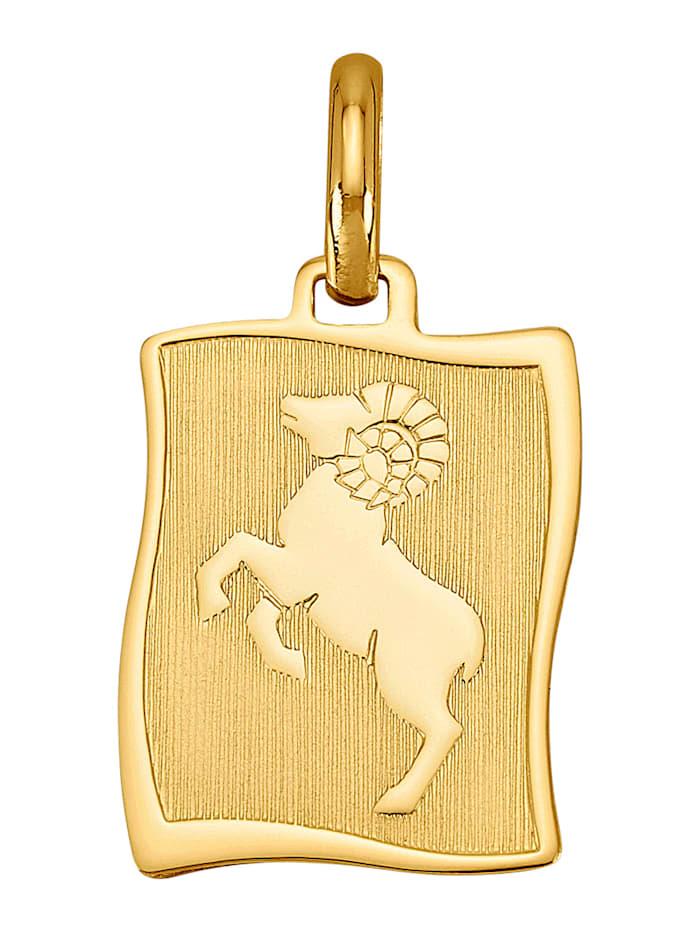 """Amara Or Pendentif avec pierre de naissance """"Bélier"""" en or jaune 585, Coloris or jaune"""