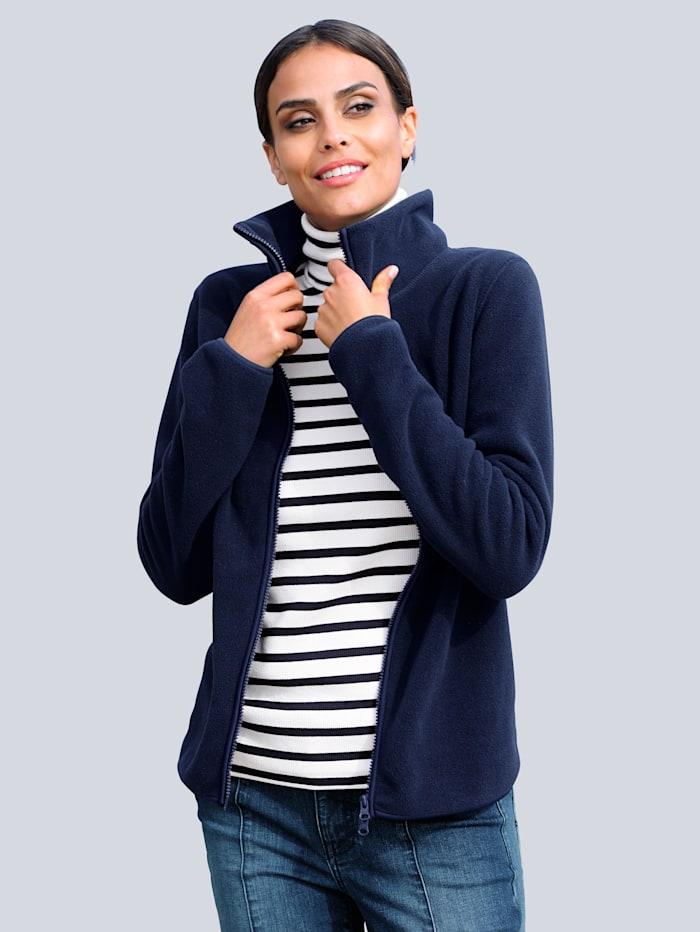 Alba Moda Fleece-Jacke in sportiver gemütlicher Optik, Marineblau
